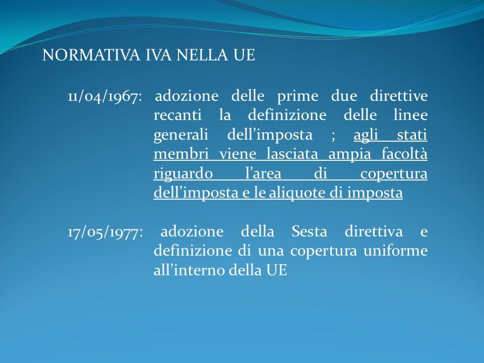 NORMATIVA IVA NELLA UE 11/04/1967: adozione delle prime due direttive recanti la definizione delle linee generali dellimposta ; agli stati membri vien