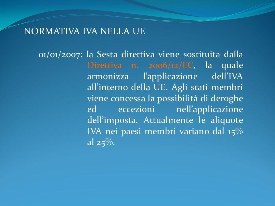 NORMATIVA IVA NELLA UE 01/01/2007: la Sesta direttiva viene sostituita dalla Direttiva n. 2006/12/EC, la quale armonizza lapplicazione dellIVA allinte