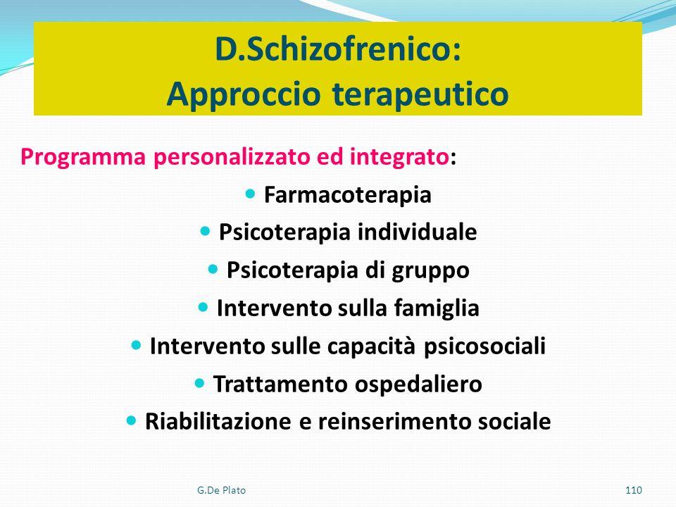 G.De Plato110 D.Schizofrenico: Approccio terapeutico : Programma personalizzato ed integrato: Farmacoterapia Psicoterapia individuale Psicoterapia di