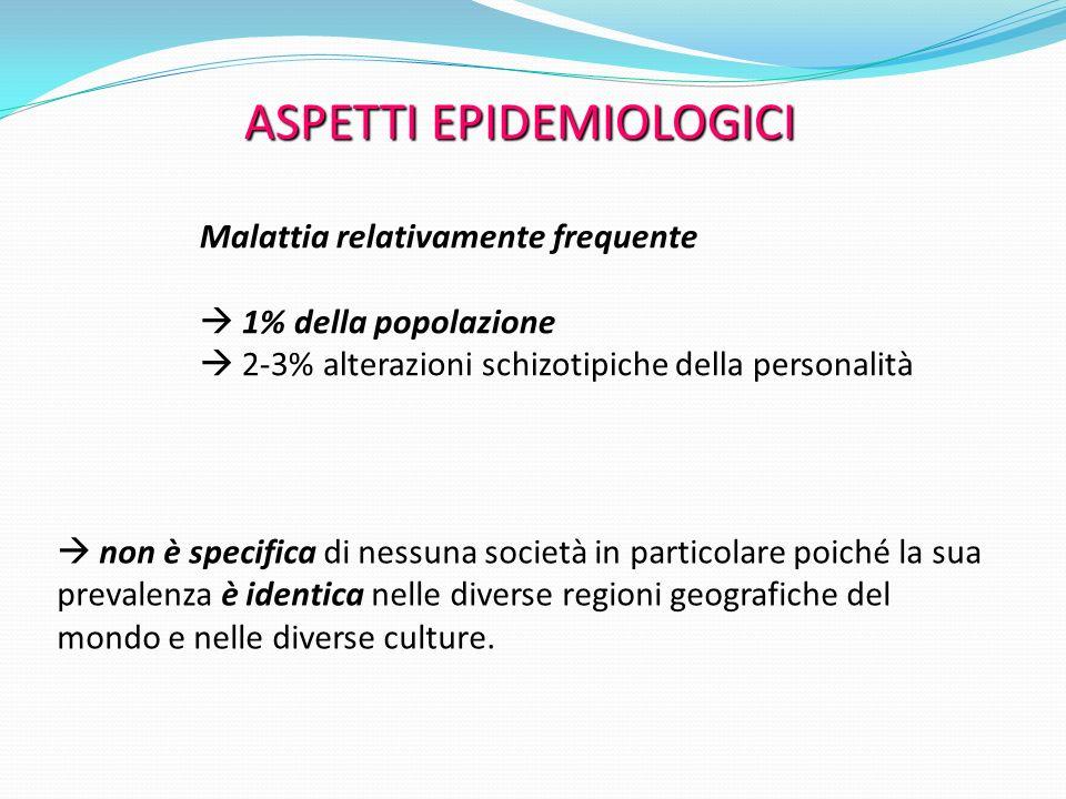 ASPETTI EPIDEMIOLOGICI Malattia relativamente frequente 1% della popolazione 2-3% alterazioni schizotipiche della personalità non è specifica di nessu
