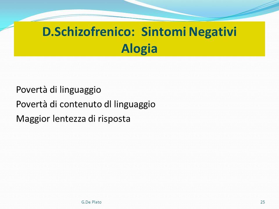 G.De Plato25 D.Schizofrenico: Sintomi Negativi Alogia Povertà di linguaggio Povertà di contenuto dl linguaggio Maggior lentezza di risposta