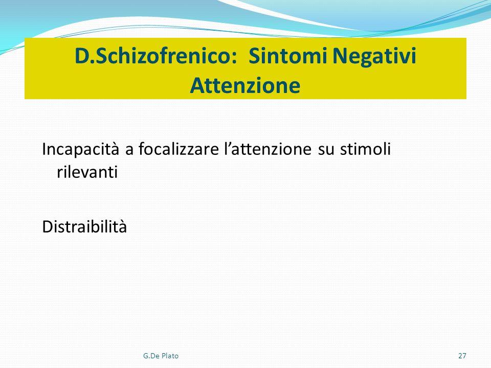G.De Plato27 D.Schizofrenico: Sintomi Negativi Attenzione Incapacità a focalizzare lattenzione su stimoli rilevanti Distraibilità