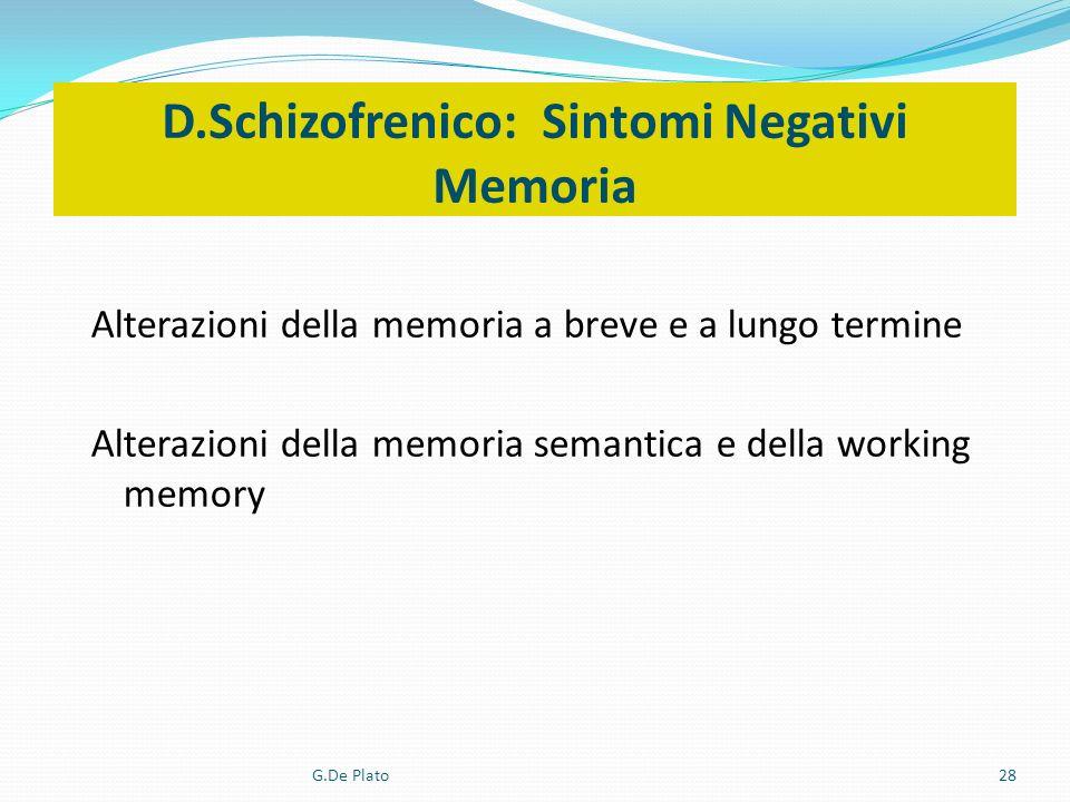 G.De Plato28 D.Schizofrenico: Sintomi Negativi Memoria Alterazioni della memoria a breve e a lungo termine Alterazioni della memoria semantica e della