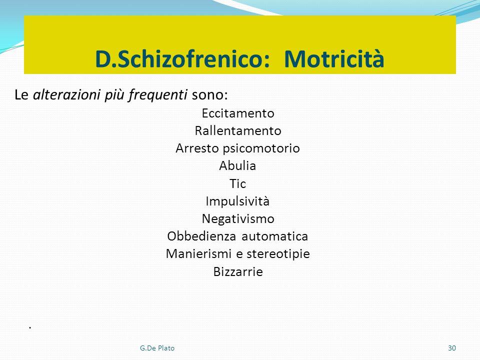 G.De Plato30 D.Schizofrenico: Motricità Le alterazioni più frequenti sono: Eccitamento Rallentamento Arresto psicomotorio Abulia Tic Impulsività Negat