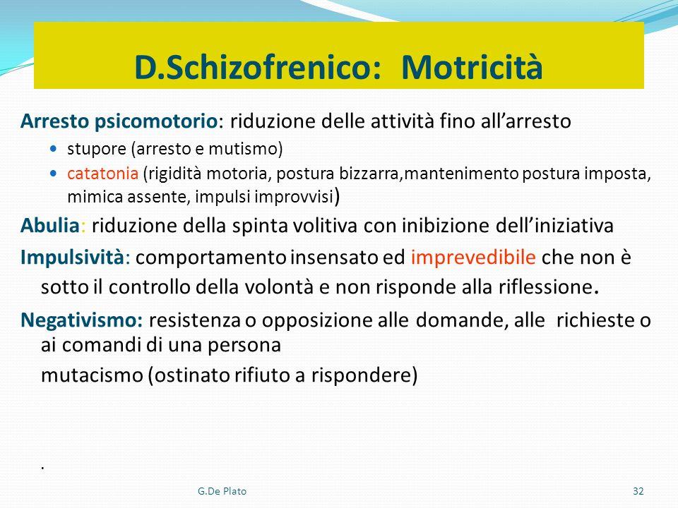 G.De Plato32 D.Schizofrenico: Motricità Arresto psicomotorio: riduzione delle attività fino allarresto stupore (arresto e mutismo) catatonia (rigidità