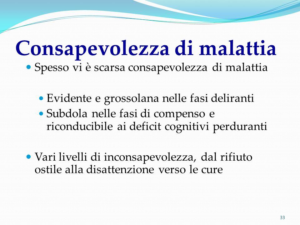 33 Consapevolezza di malattia Spesso vi è scarsa consapevolezza di malattia Evidente e grossolana nelle fasi deliranti Subdola nelle fasi di compenso