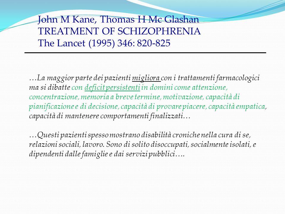 John M Kane, Thomas H Mc Glashan TREATMENT OF SCHIZOPHRENIA The Lancet (1995) 346: 820-825 …La maggior parte dei pazienti migliora con i trattamenti f