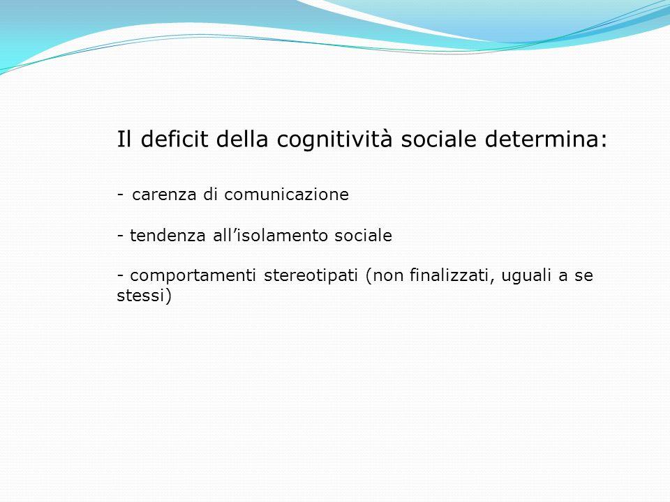 Il deficit della cognitività sociale determina: - carenza di comunicazione - tendenza allisolamento sociale - comportamenti stereotipati (non finalizz
