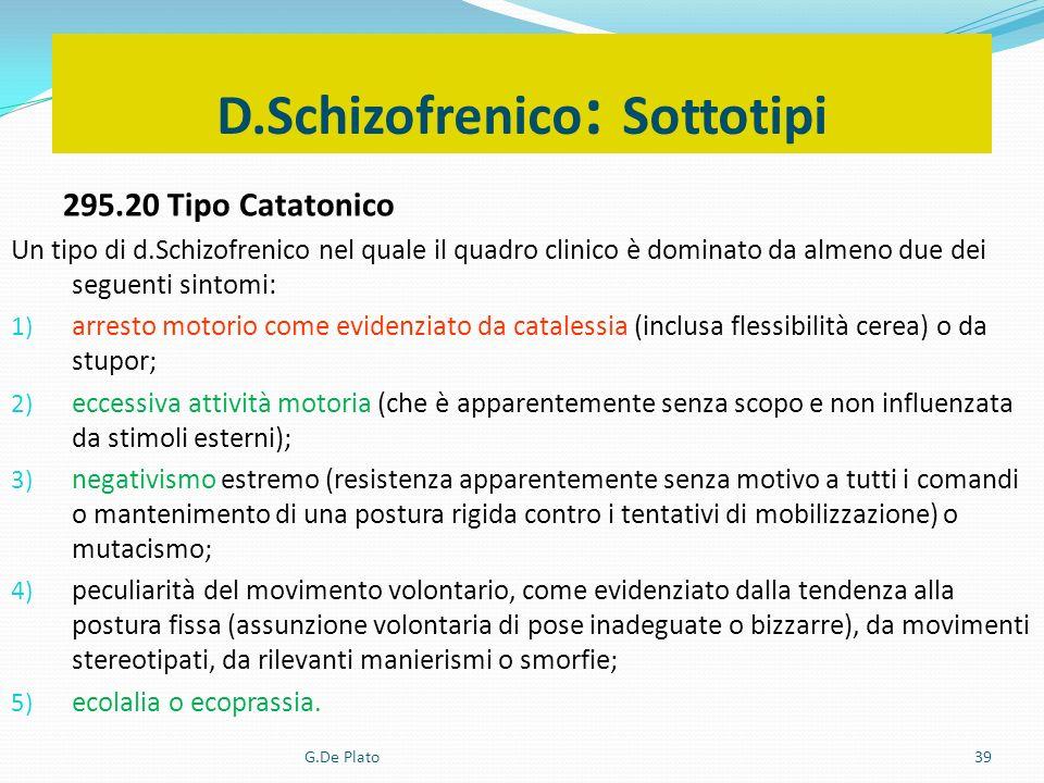 G.De Plato39 D.Schizofrenico : Sottotipi 295.20 Tipo Catatonico Un tipo di d.Schizofrenico nel quale il quadro clinico è dominato da almeno due dei se