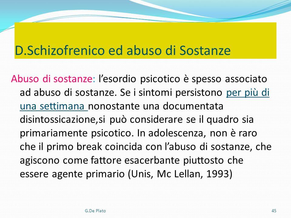 G.De Plato45 Abuso di sostanze: lesordio psicotico è spesso associato ad abuso di sostanze. Se i sintomi persistono per più di una settimana nonostant