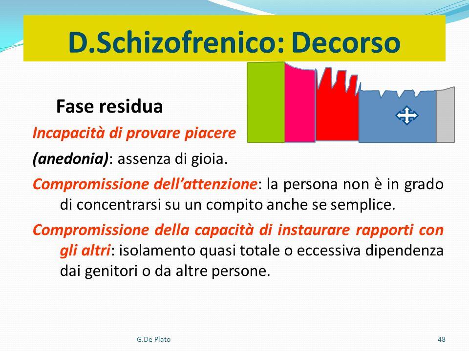 G.De Plato48 D.Schizofrenico: Decorso Fase residua Incapacità di provare piacere (anedonia): assenza di gioia. Compromissione dellattenzione: la perso