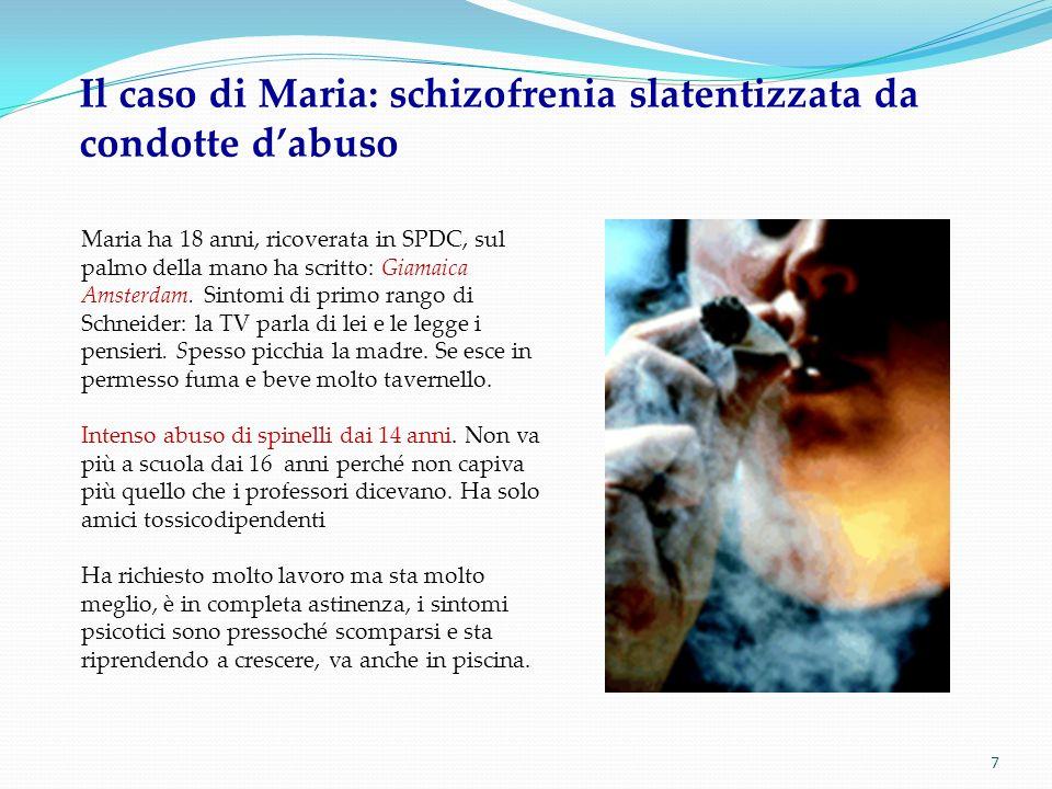 7 Il caso di Maria: schizofrenia slatentizzata da condotte dabuso Maria ha 18 anni, ricoverata in SPDC, sul palmo della mano ha scritto: Giamaica Amst