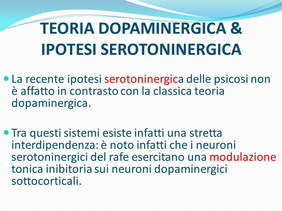 TEORIA DOPAMINERGICA & IPOTESI SEROTONINERGICA La recente ipotesi serotoninergica delle psicosi non è affatto in contrasto con la classica teoria dopa