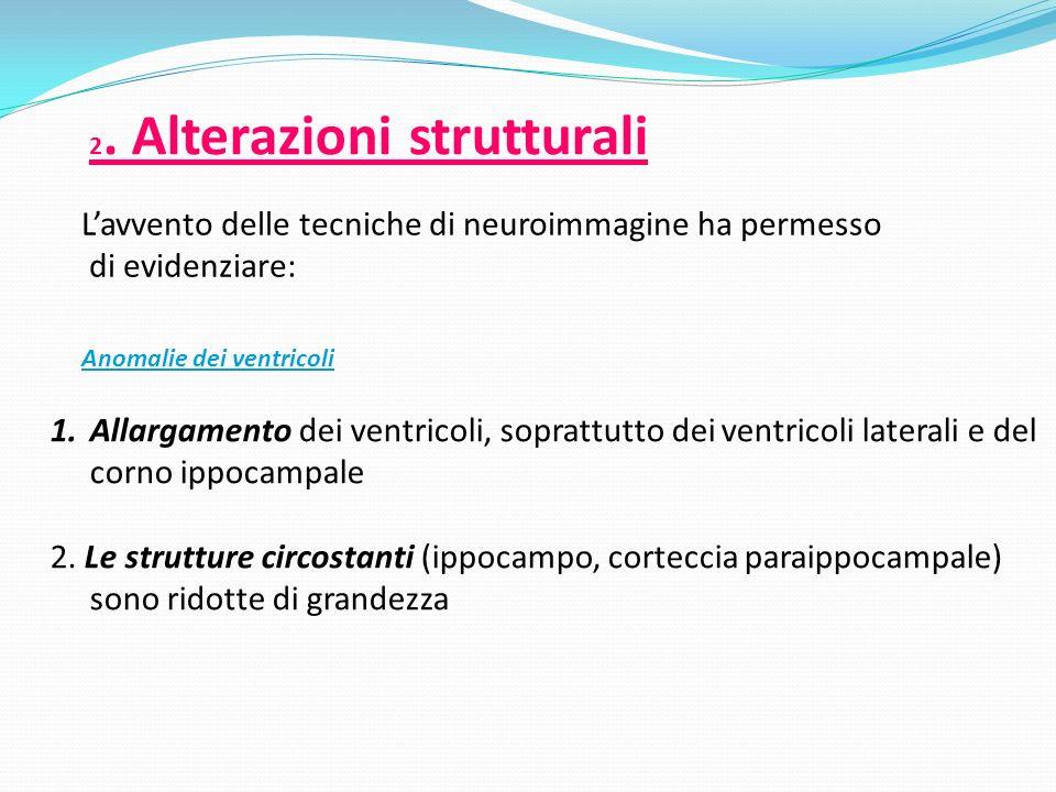 2. Alterazioni strutturali Lavvento delle tecniche di neuroimmagine ha permesso di evidenziare: Anomalie dei ventricoli 1.Allargamento dei ventricoli,