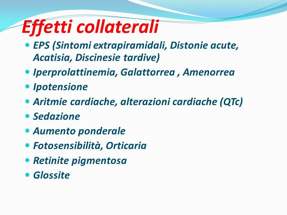 Effetti collaterali EPS (Sintomi extrapiramidali, Distonie acute, Acatisia, Discinesie tardive) Iperprolattinemia, Galattorrea, Amenorrea Ipotensione