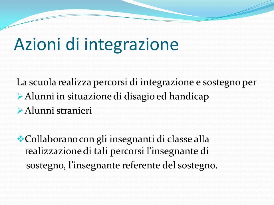 Azioni di integrazione La scuola realizza percorsi di integrazione e sostegno per Alunni in situazione di disagio ed handicap Alunni stranieri Collabo