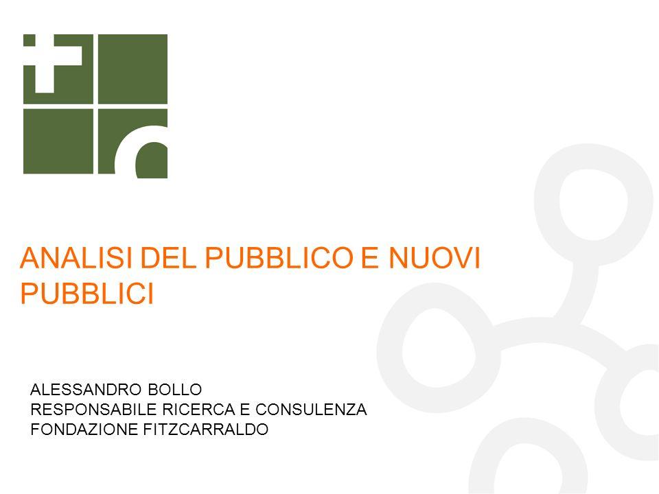 ANALISI DEL PUBBLICO E NUOVI PUBBLICI ALESSANDRO BOLLO RESPONSABILE RICERCA E CONSULENZA FONDAZIONE FITZCARRALDO