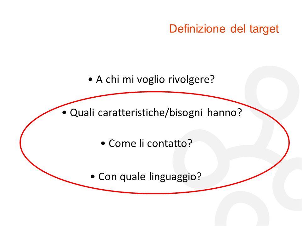Definizione del target A chi mi voglio rivolgere? Quali caratteristiche/bisogni hanno? Come li contatto? Con quale linguaggio?
