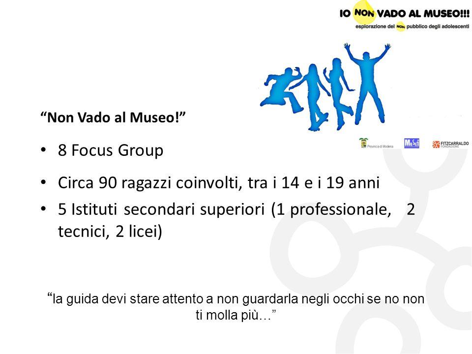 Non Vado al Museo! 8 Focus Group Circa 90 ragazzi coinvolti, tra i 14 e i 19 anni 5 Istituti secondari superiori (1 professionale, 2 tecnici, 2 licei)