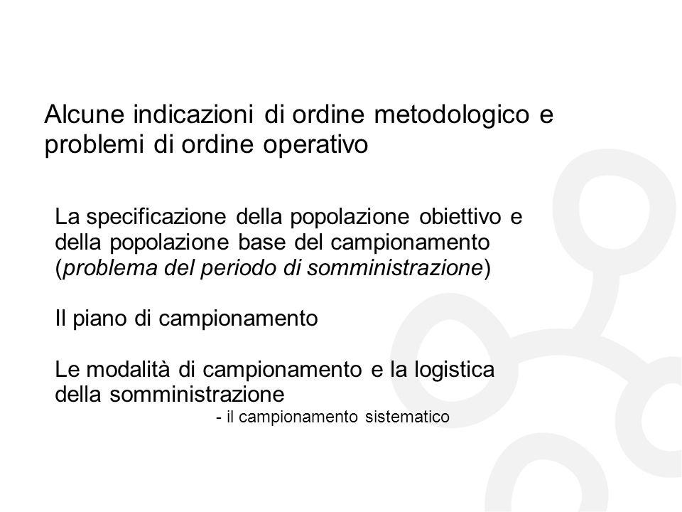 Alcune indicazioni di ordine metodologico e problemi di ordine operativo La specificazione della popolazione obiettivo e della popolazione base del ca