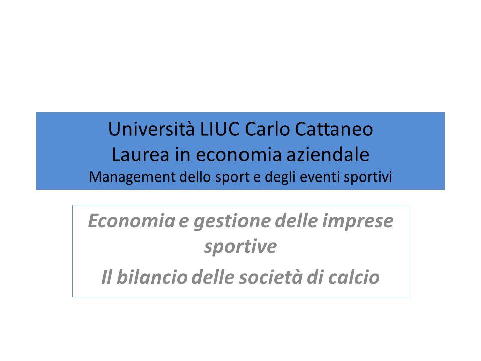 Università LIUC Carlo Cattaneo Laurea in economia aziendale Management dello sport e degli eventi sportivi Economia e gestione delle imprese sportive