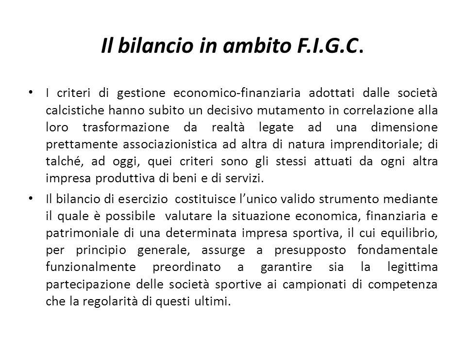 Il bilancio in ambito F.I.G.C. I criteri di gestione economico-finanziaria adottati dalle società calcistiche hanno subito un decisivo mutamento in co
