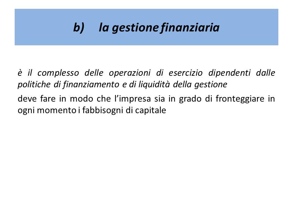 b)la gestione finanziaria è il complesso delle operazioni di esercizio dipendenti dalle politiche di finanziamento e di liquidità della gestione deve