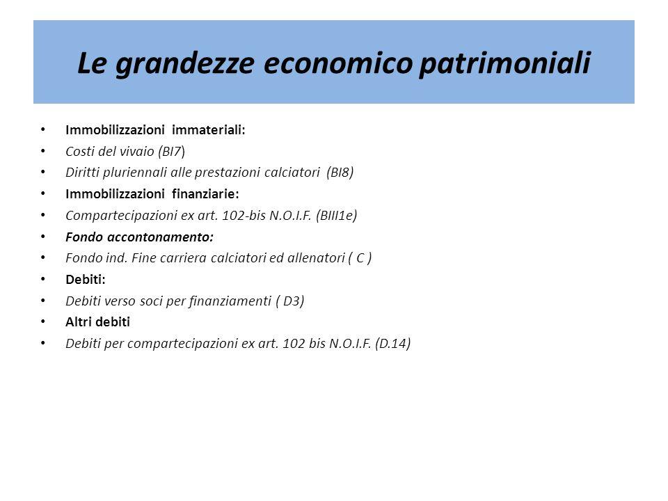 Le grandezze economico patrimoniali Immobilizzazioni immateriali: Costi del vivaio (BI7) Diritti pluriennali alle prestazioni calciatori (BI8) Immobil