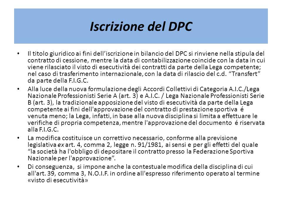 Iscrizione del DPC Il titolo giuridico ai fini delliscrizione in bilancio del DPC si rinviene nella stipula del contratto di cessione, mentre la data