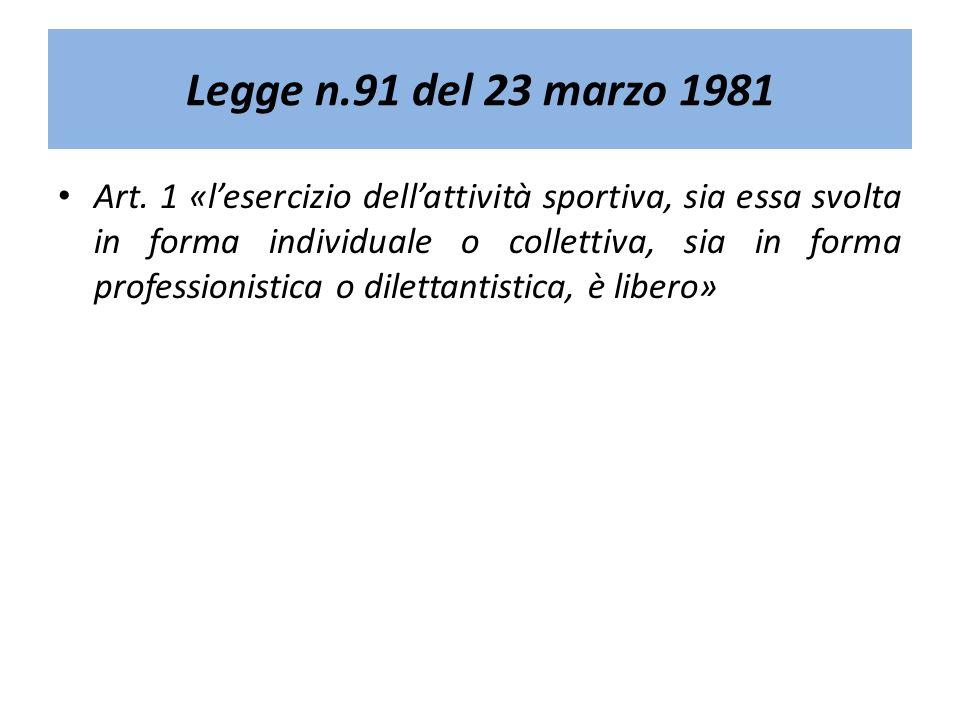 Legge n.91 del 23 marzo 1981 Art. 1 «lesercizio dellattività sportiva, sia essa svolta in forma individuale o collettiva, sia in forma professionistic