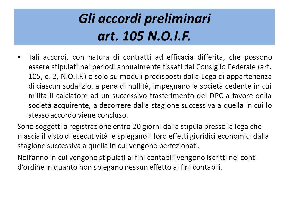 Gli accordi preliminari art. 105 N.O.I.F. Tali accordi, con natura di contratti ad efficacia differita, che possono essere stipulati nei periodi annua