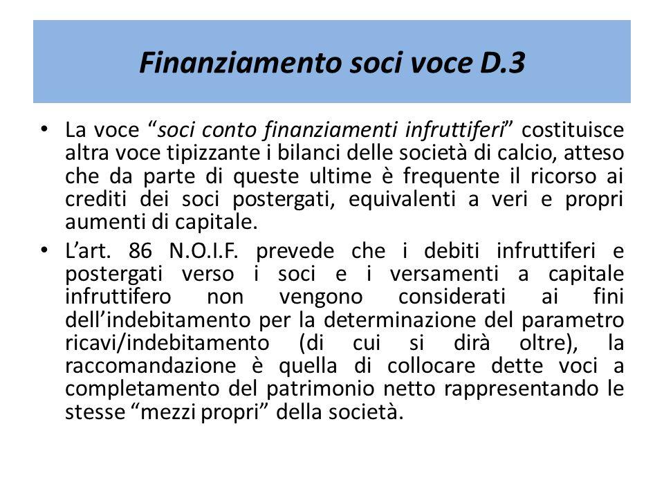 Finanziamento soci voce D.3 La voce soci conto finanziamenti infruttiferi costituisce altra voce tipizzante i bilanci delle società di calcio, atteso