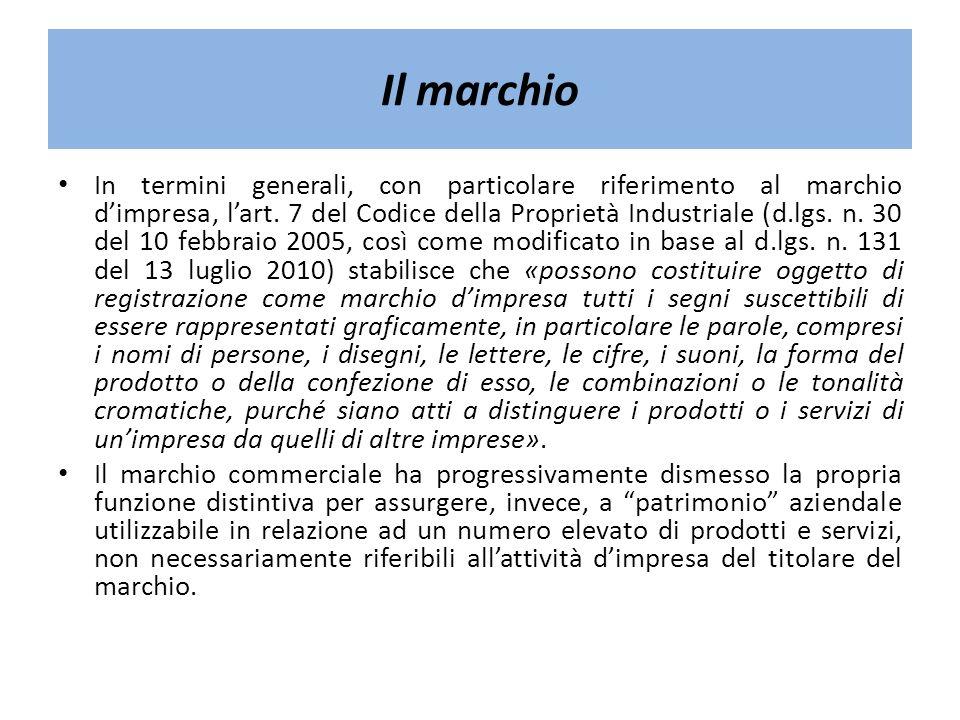 Il marchio In termini generali, con particolare riferimento al marchio dimpresa, lart. 7 del Codice della Proprietà Industriale (d.lgs. n. 30 del 10 f