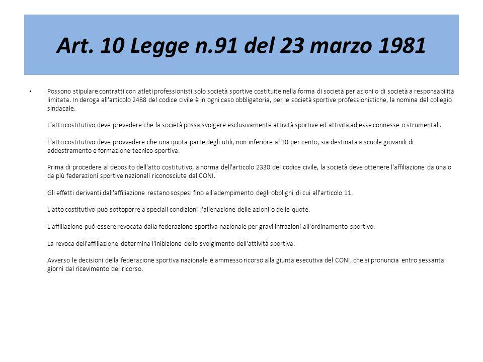 Art. 10 Legge n.91 del 23 marzo 1981 Possono stipulare contratti con atleti professionisti solo società sportive costituite nella forma di società per