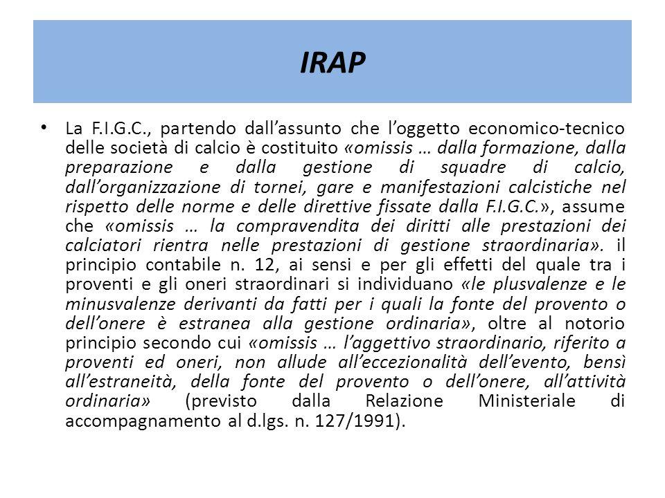 IRAP La F.I.G.C., partendo dallassunto che loggetto economico-tecnico delle società di calcio è costituito «omissis … dalla formazione, dalla preparaz
