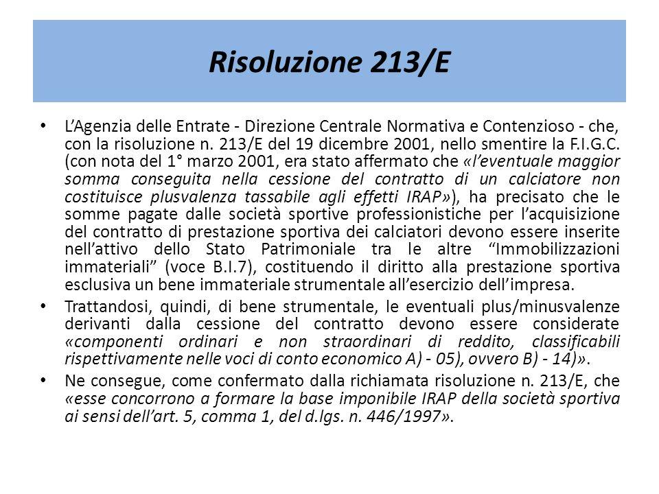 Risoluzione 213/E LAgenzia delle Entrate - Direzione Centrale Normativa e Contenzioso - che, con la risoluzione n. 213/E del 19 dicembre 2001, nello s
