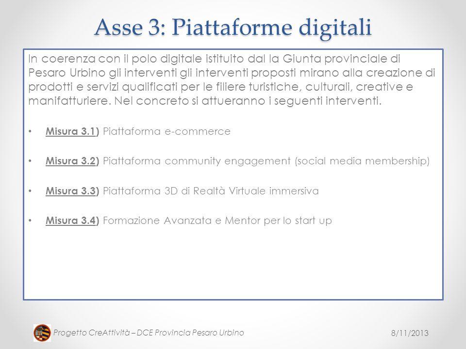 8/11/2013 Progetto CreAttività – DCE Provincia Pesaro Urbino In coerenza con il polo digitale istituito dal la Giunta provinciale di Pesaro Urbino gli