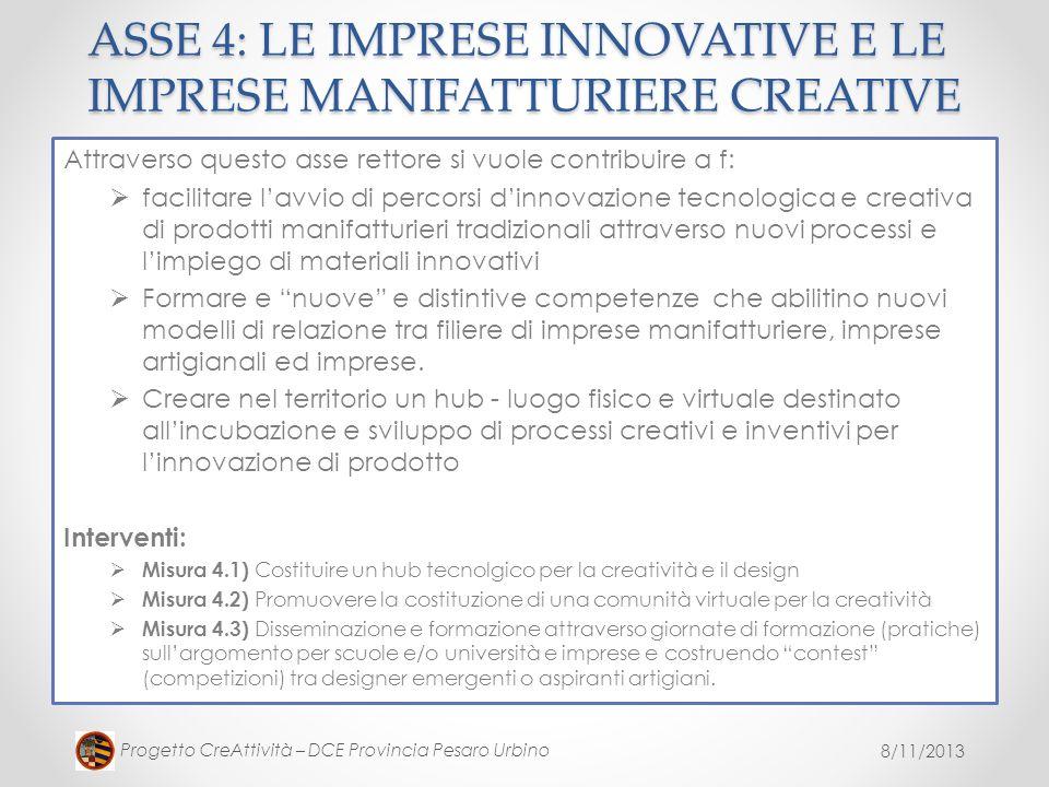 8/11/2013 Progetto CreAttività – DCE Provincia Pesaro Urbino ASSE 4: LE IMPRESE INNOVATIVE E LE IMPRESE MANIFATTURIERE CREATIVE Attraverso questo asse