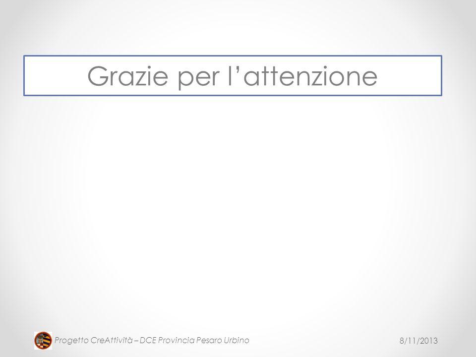 8/11/2013 Progetto CreAttività – DCE Provincia Pesaro Urbino Grazie per lattenzione