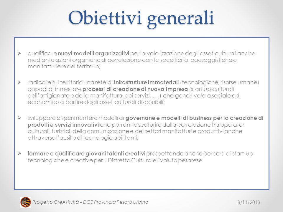 8/11/2013 Progetto CreAttività – DCE Provincia Pesaro Urbino Obiettivi generali qualificare nuovi modelli organizzativi per la valorizzazione degli as