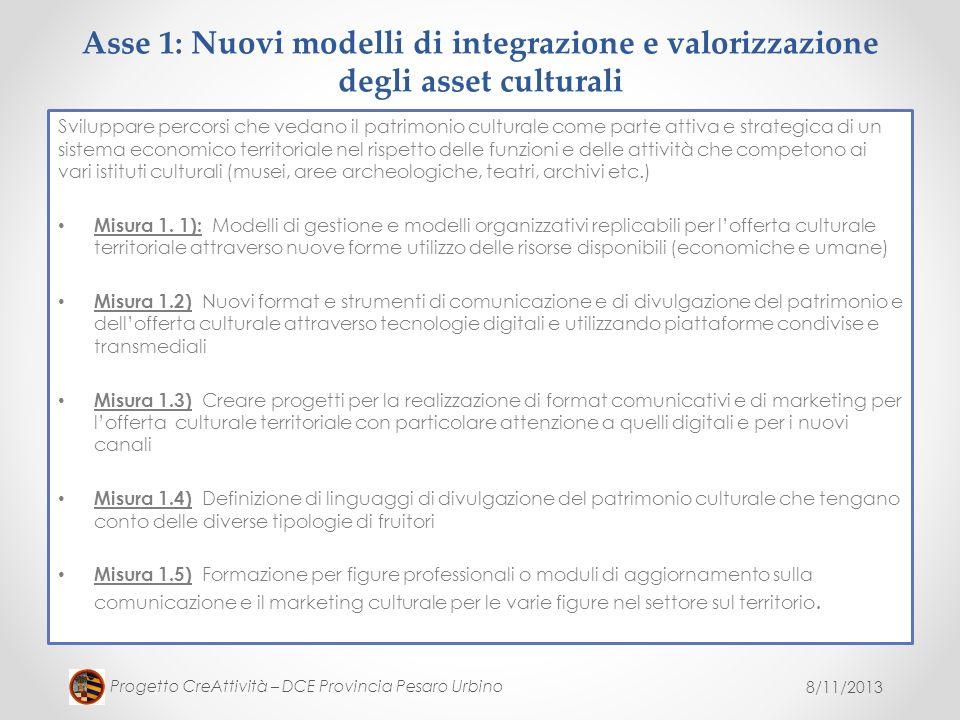 8/11/2013 Progetto CreAttività – DCE Provincia Pesaro Urbino Asse 1: Nuovi modelli di integrazione e valorizzazione degli asset culturali Sviluppare p