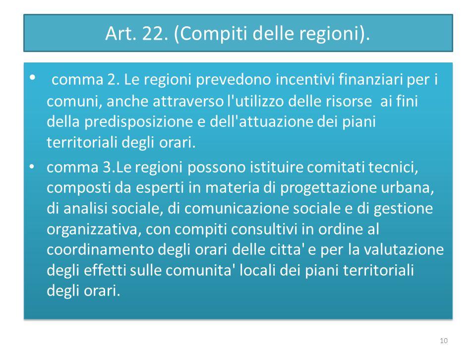 Art. 22. (Compiti delle regioni). comma 2. Le regioni prevedono incentivi finanziari per i comuni, anche attraverso l'utilizzo delle risorse ai fini d