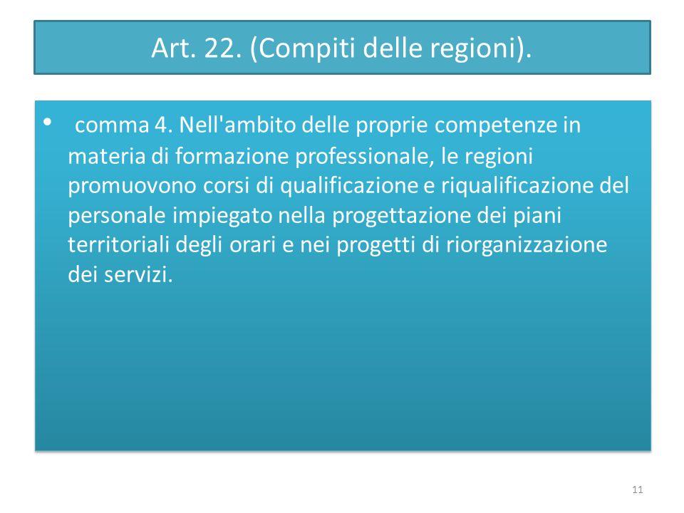 Art. 22. (Compiti delle regioni). comma 4. Nell'ambito delle proprie competenze in materia di formazione professionale, le regioni promuovono corsi di
