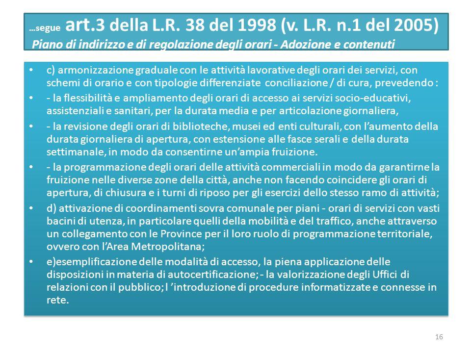 …s egue art. 3 della L.R. 38 del 1998 (v. L.R. n.1 del 2005) Piano di indirizzo e di regolazione degli orari - Adozione e contenuti c) armonizzazione
