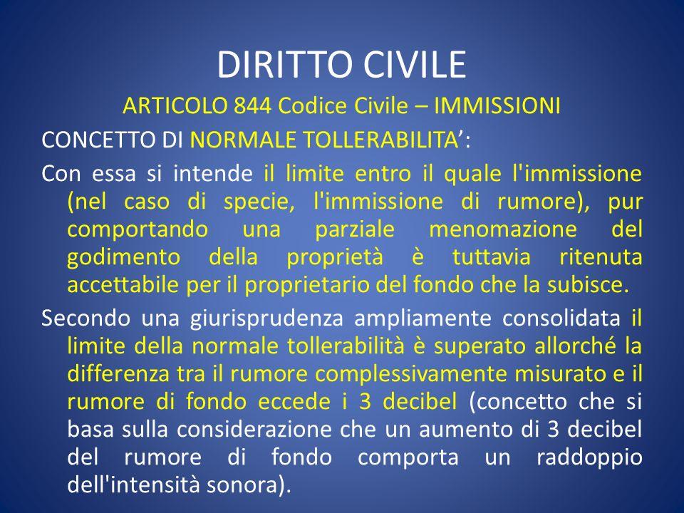 ARTICOLO 844 Codice Civile – IMMISSIONI CONCETTO DI NORMALE TOLLERABILITA: Con essa si intende il limite entro il quale l'immissione (nel caso di spec