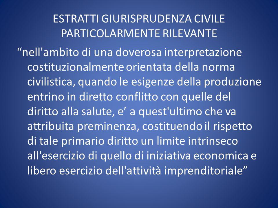 ESTRATTI GIURISPRUDENZA CIVILE PARTICOLARMENTE RILEVANTE nell'ambito di una doverosa interpretazione costituzionalmente orientata della norma civilist