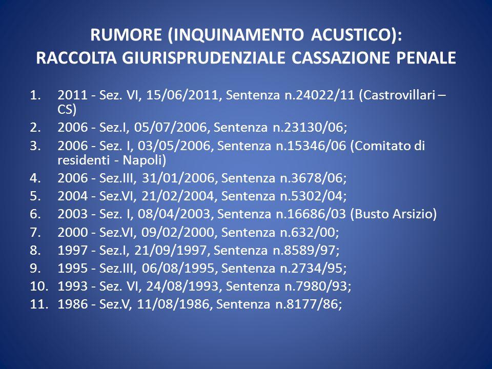 RUMORE (INQUINAMENTO ACUSTICO): RACCOLTA GIURISPRUDENZIALE CASSAZIONE PENALE 1.2011 - Sez. VI, 15/06/2011, Sentenza n.24022/11 (Castrovillari – CS) 2.