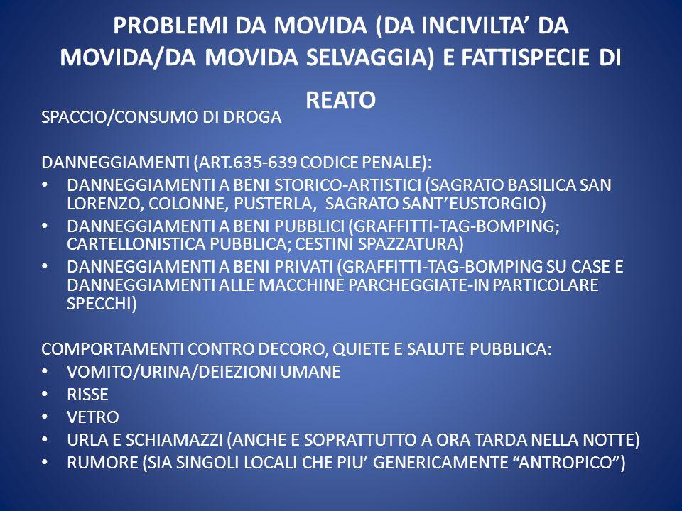 PROBLEMI DA MOVIDA (DA INCIVILTA DA MOVIDA/DA MOVIDA SELVAGGIA) E FATTISPECIE DI REATO SPACCIO/CONSUMO DI DROGA DANNEGGIAMENTI (ART.635-639 CODICE PEN