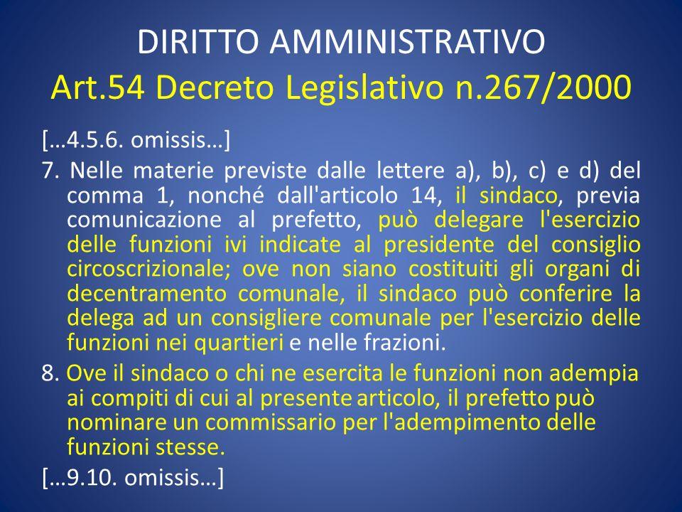 DIRITTO AMMINISTRATIVO Art.54 Decreto Legislativo n.267/2000 […4.5.6. omissis…] 7. Nelle materie previste dalle lettere a), b), c) e d) del comma 1, n