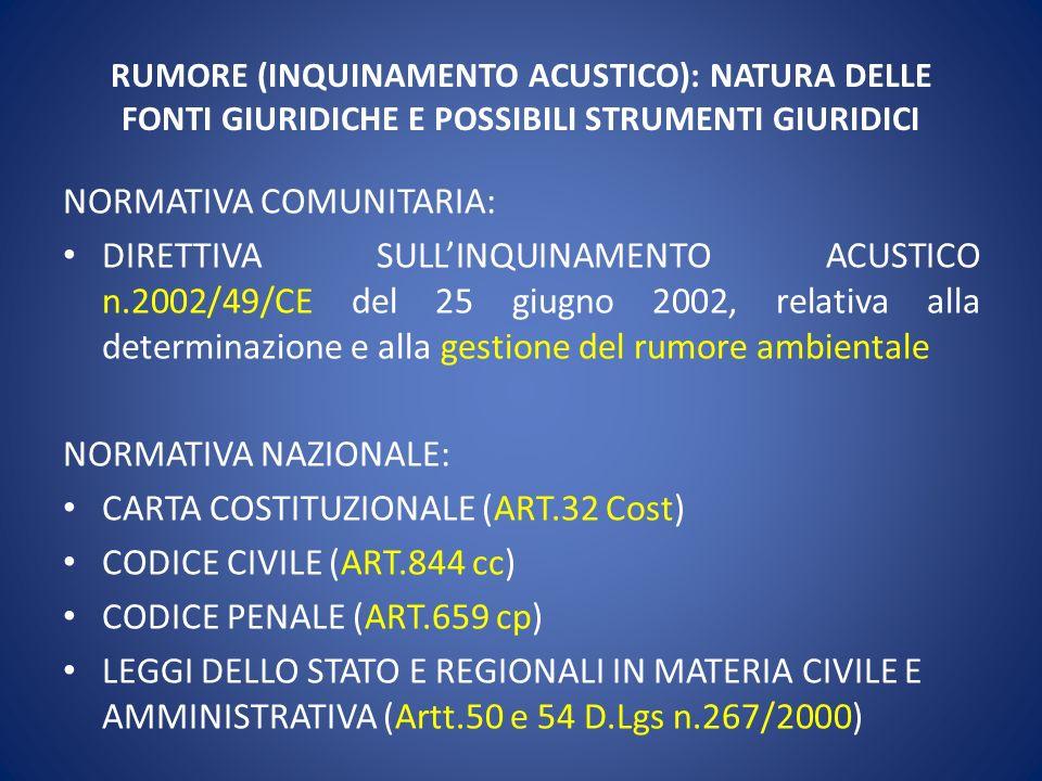 RUMORE (INQUINAMENTO ACUSTICO): NATURA DELLE FONTI GIURIDICHE E POSSIBILI STRUMENTI GIURIDICI NORMATIVA COMUNITARIA: DIRETTIVA SULLINQUINAMENTO ACUSTI